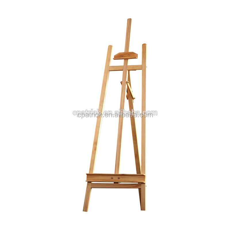 Wholesales Pine wood Natural colour 1.45m Height Adjustable Stable A-frame Lyre studio easel with rear supporting leg