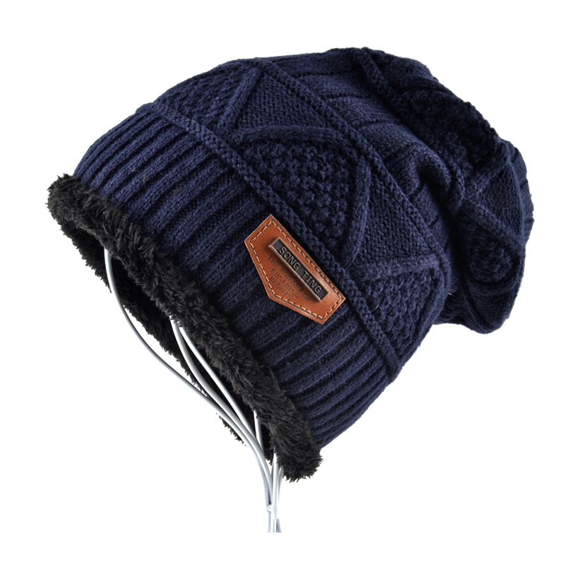 a474bb68cfa178 Brand hat men Winter Beanies women Knitted wool bonnet Plus velvet Soft  Beanie Autumn man Cap