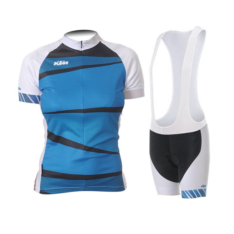 fb77e9f4f Get Quotations · 2015 KTM cycling jersey women short sleeves+bib shorts set maillot  ciclismo fitness blue mtb