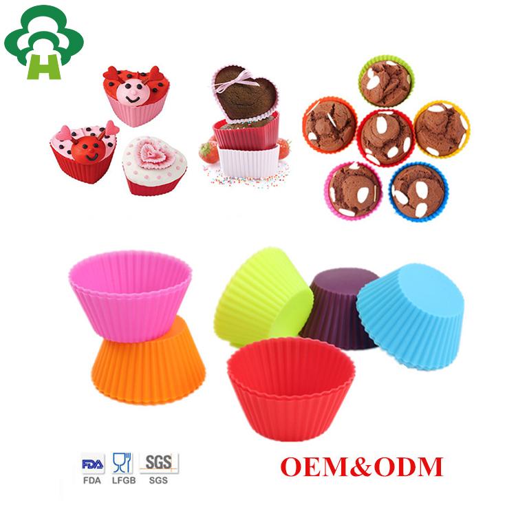 7cm round shape nonstick silicone cake baking customized mould 6 cup muffin pan tin silicone bakeware set