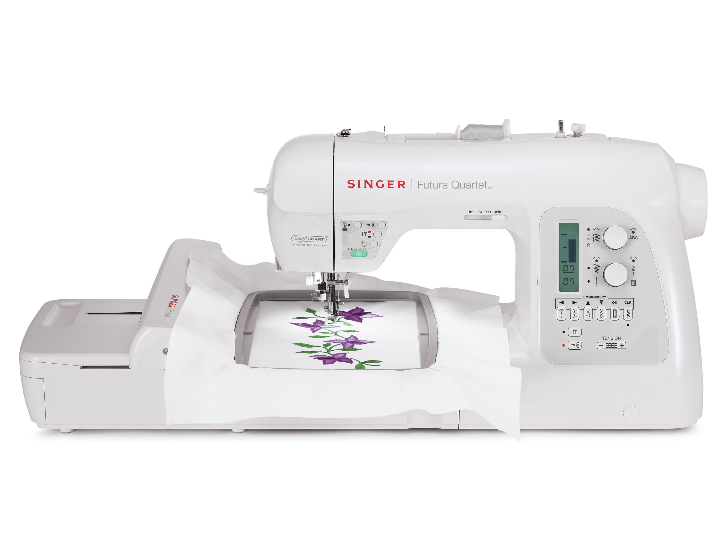 Get Quotations · SINGER 4-in-1 Futura Quartet Portable Sewing, Embroidery,  Quilting and Serging