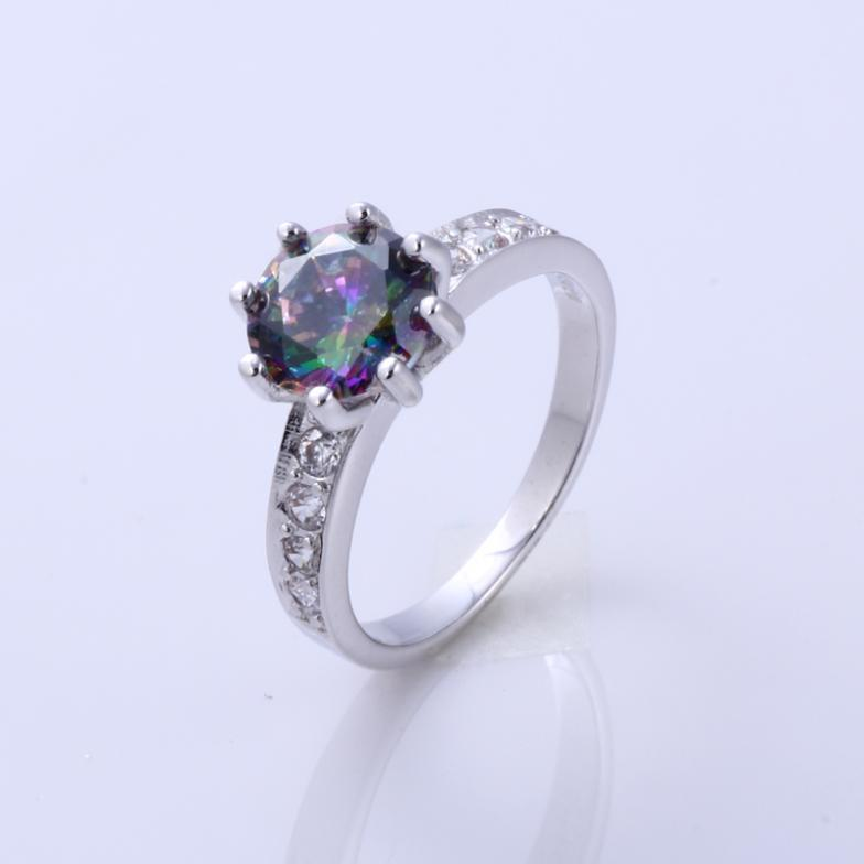 Fashion Ring 925 Sterling Silver Ring Crystal Round Cut