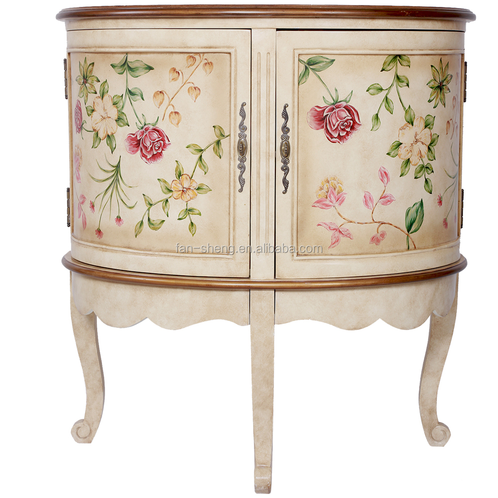 AMERICAN PASTORAL ANTIQUE FURNITURE FRESH FLOWER SPECIFIC USE FRENCH HALF  ROUND TABLE FOR LIVING ROOM CABINET