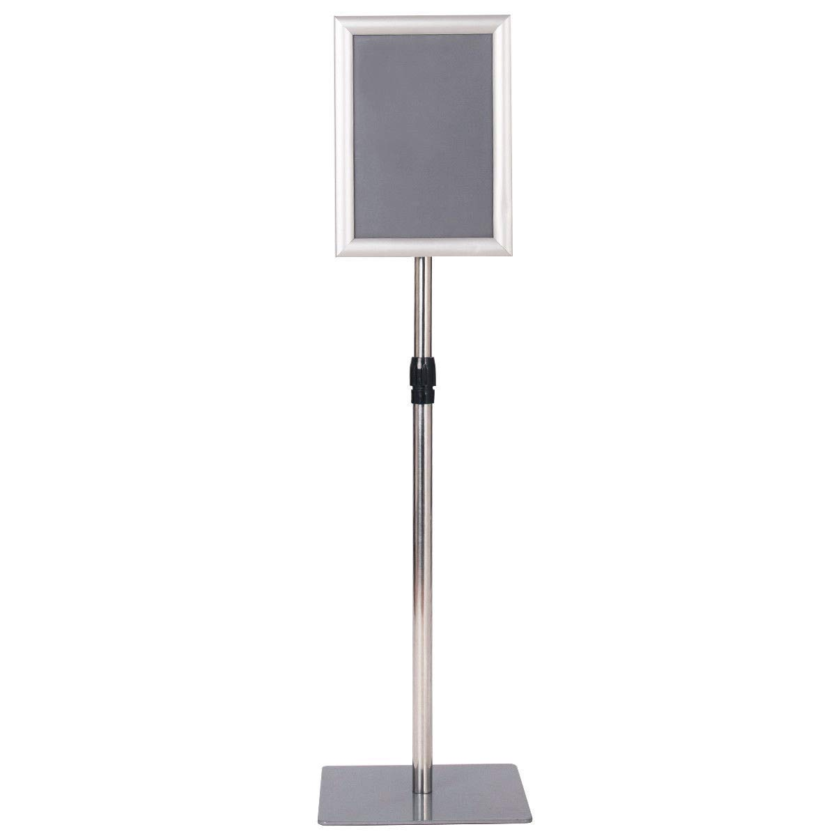 """Sliver 8.5"""" x 11"""" Aluminum Sign Holder Pedestal Poster Stand w/Adjustable Height 29"""" to 47"""" with Ebook"""