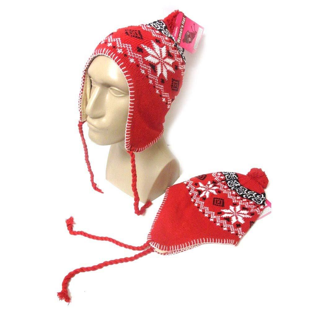 1f898b09af3574 Get Quotations · 1 Peruvian Winter Ear Flap Muff Ski Hat Skully Beanie Cap  Snow Women Red Black