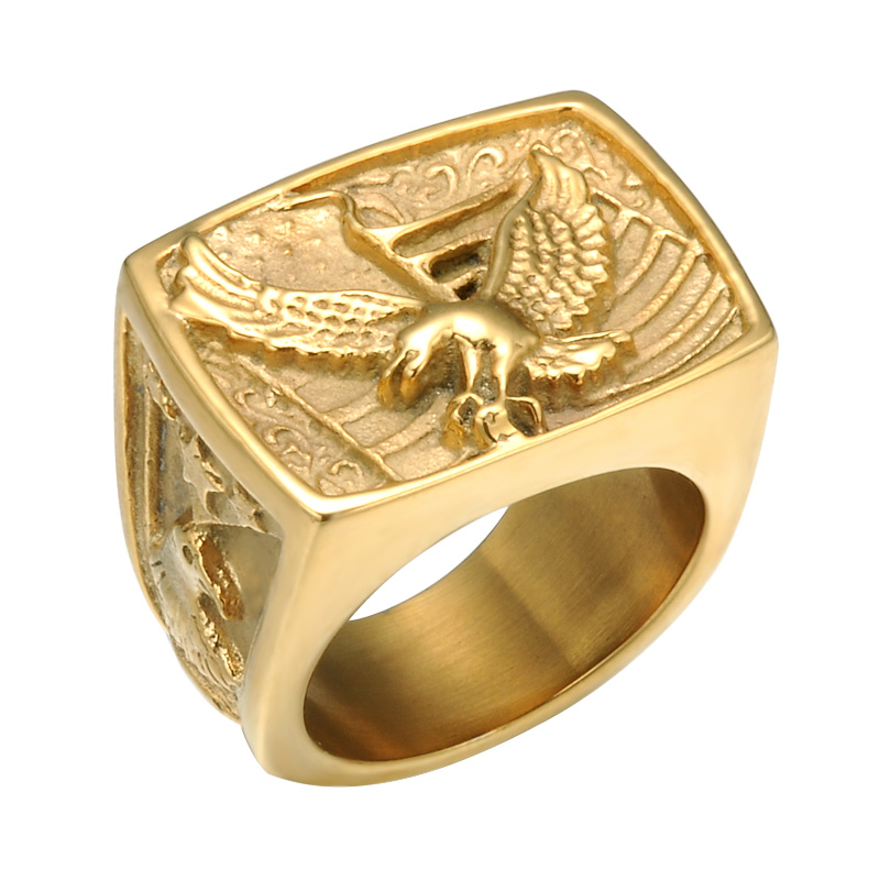 2018 Manufacture New Design Hip Hop IP Plated High Polished Man Jewelry Acero 316L Stainless Steel Eagle Ring