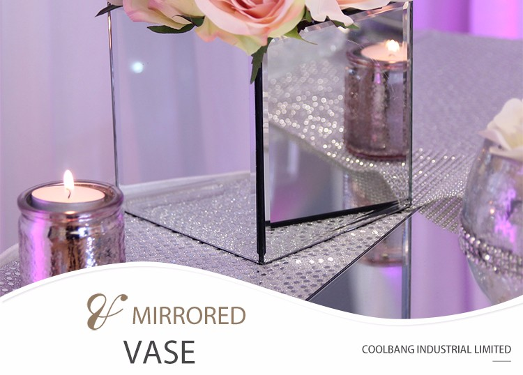 Hot Sale Cheap Decorative Square Glass Mirror Vase For Wedding