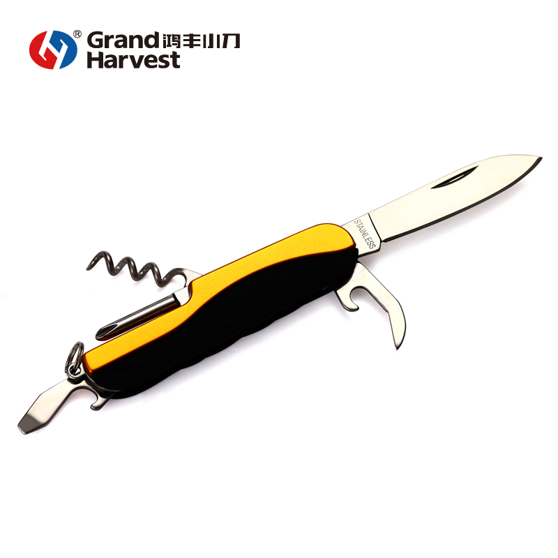 7 in 1 yellow black unique pocket knives with Aluminum pvc handle