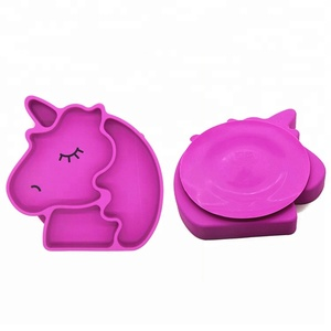Suction Silicone Plate, Unicorn Shape Silicone Placemat BPA Free For Baby