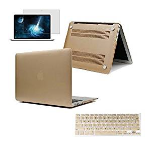 "EWC - 3in1 Champagne Gold Frosted Hard Laptop Sleeve (Cut Out Logo) with Gold Keyboard Cover and Clear Screen Protector for Macbook Air 13""13.3''inch (A1369/A1466)"