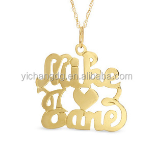 Stainless Steel Double Name and Heart Pendant in 10K Gold Plated (2 Names),Jewelry Mens Necklace Pendant