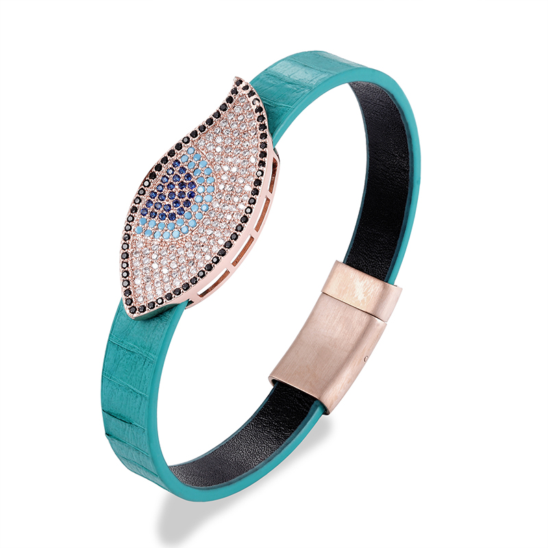 10MM copper letter accessary blue snake skin leather bracelet luxury vintage leather women bracelet with magnetic clasp
