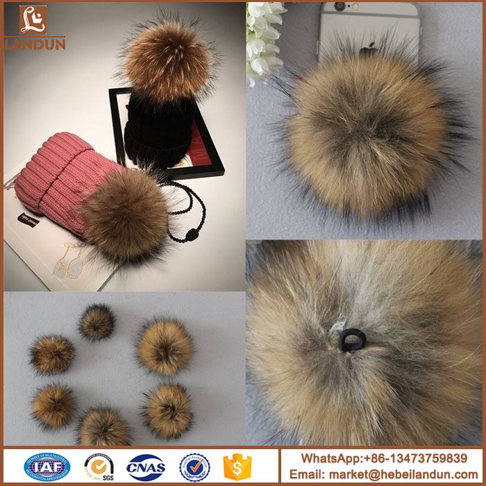 Good quality raccoon fur pompom for clothes