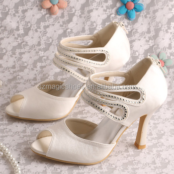 (20 Colors)Off White Wedding Shoes Bridal With Zipper