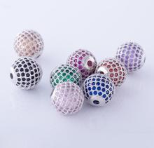 Wholesale 925 Sterling Silver Metal Beads for Jewelry Making Cz Micro Pave Beads