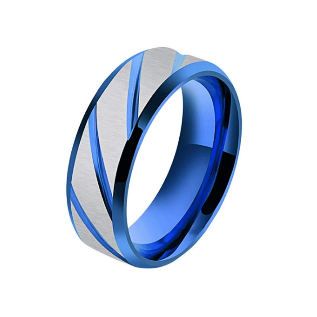 Challyhope Clearance! Men's Women Classic Betrothal Engagement Rings Geometric Type Titanium Steel Ring Couple Band Ring (Blue, 8)