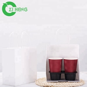 Competitive price black white red disposable plastic coffee cup carrier tray 2 cups 4 cups