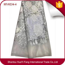 White sequins tulle lace with stones fashion mesh fabric for bridal in dubai HY0234-4