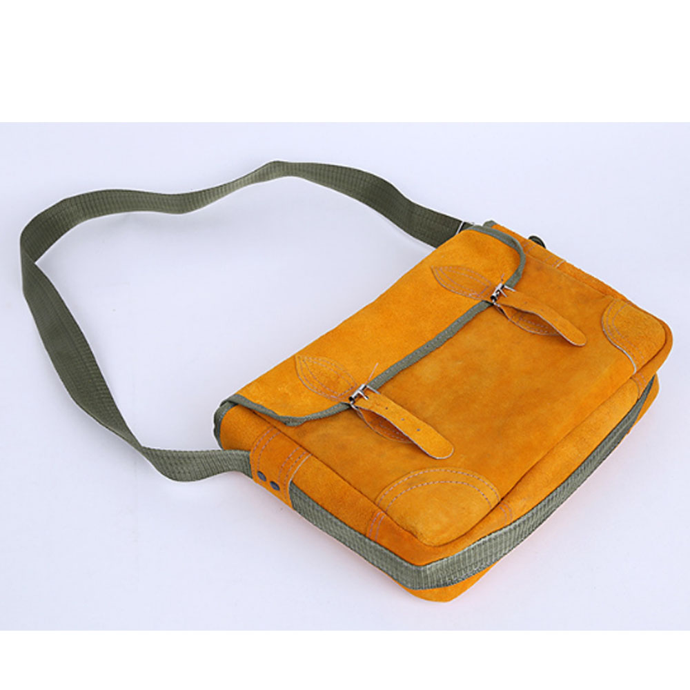 High quality vintage suede orange messenger leather tool bag laptop