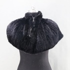 New style Luxury Knitted Mink Fur Cape Wholesale short Black Mink Fur Shawl