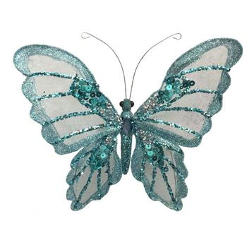 Decorative Butterfly With Clip Christmas Glitter Butterfly For