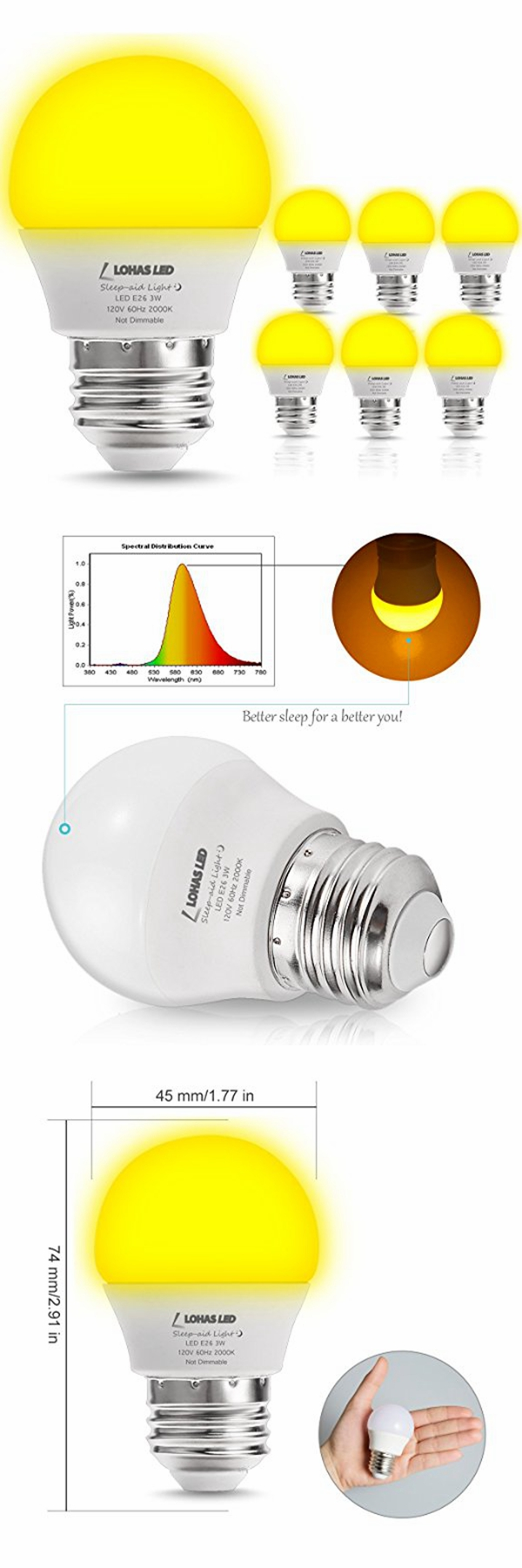 G14 Mini Bulb 25W Equivalent(3W) E26 Soft Warm White LED Night Light Bulb for baby sleep