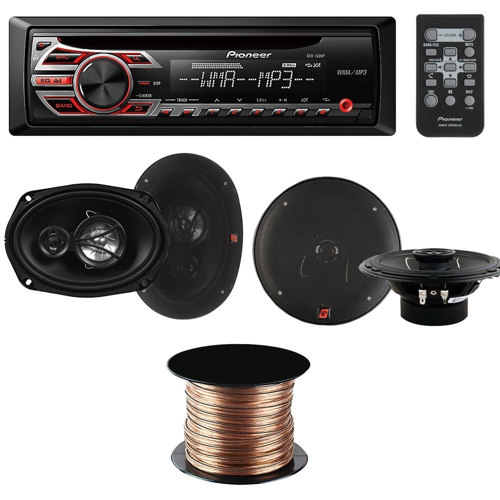 "Pioneer DEH-150MP Single-DIN Car Stereo CD Receiver + Cerwin-Vega XED62 300W 6.5"" 2-Way Coaxial Speakers + Cerwin-Vega XED693 350W 6 x 9"" 3-Way Coaxial Speakers + Speaker Wire Wire 18 AWG 50 feet"