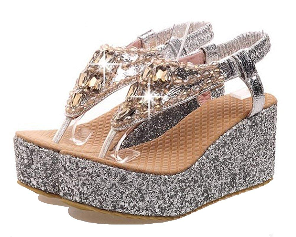 HiEase Women's Glitter Sequins High Platform Flip Flops Rhinestones Charming Wedges Sandals Size 4-14