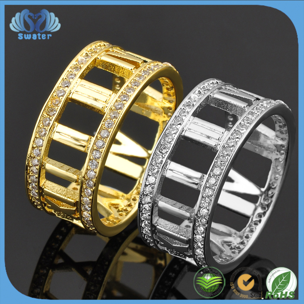 Alibaba Website Cubic Zircon 24 Carat Gold Ring