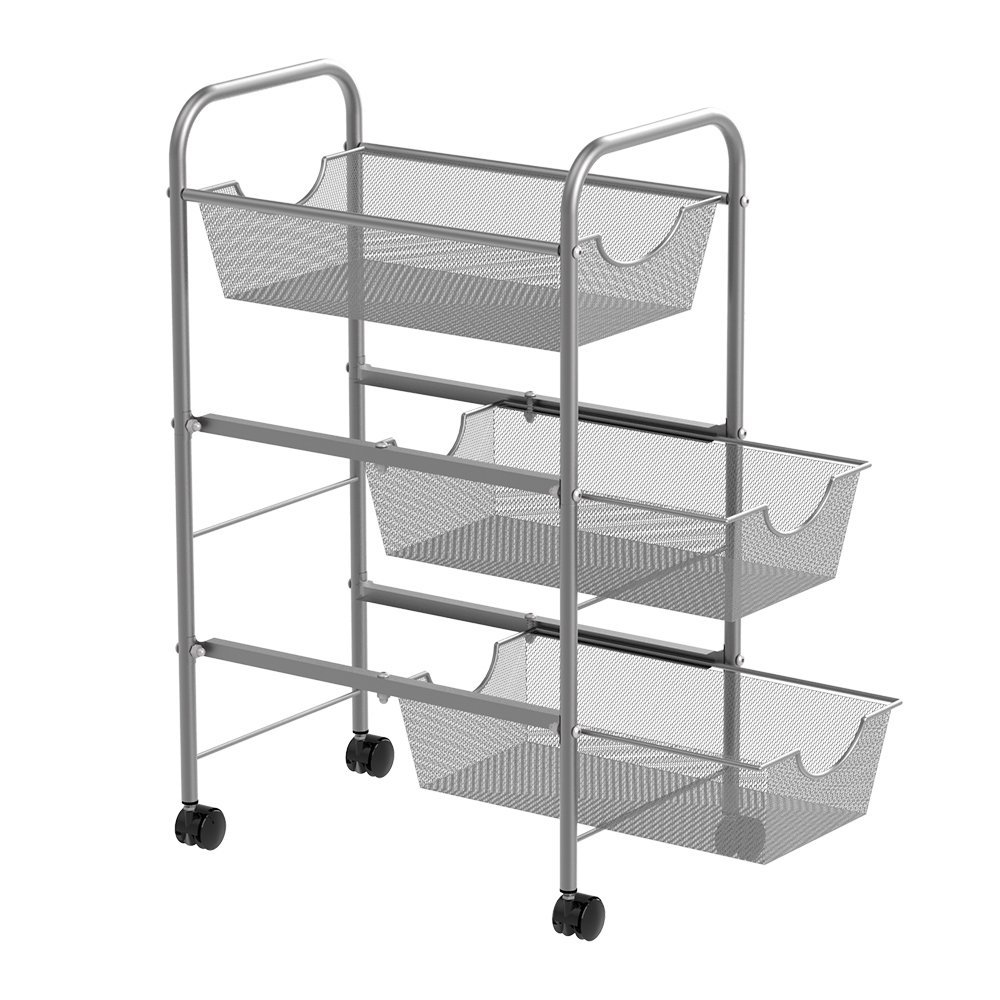 NEX Mesh Wire Rolling Cart Multifunction Utility Car Office&Kitchen Storage Cart with Baskets, Easy Moving -Silver (3-Tier)