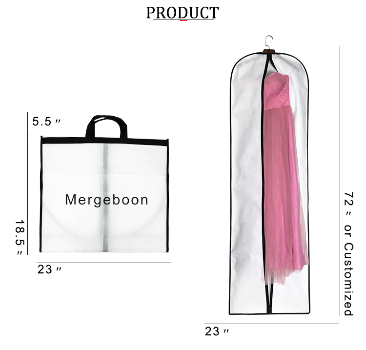 "Costume printed 72"" long wedding dress garment cover bag for dance"