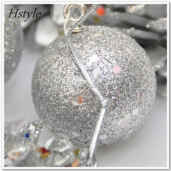 Dusting Powder Foam Christmas Ball With Stick Pattern, Beautiful Xmas Ball For Decoration SSD016