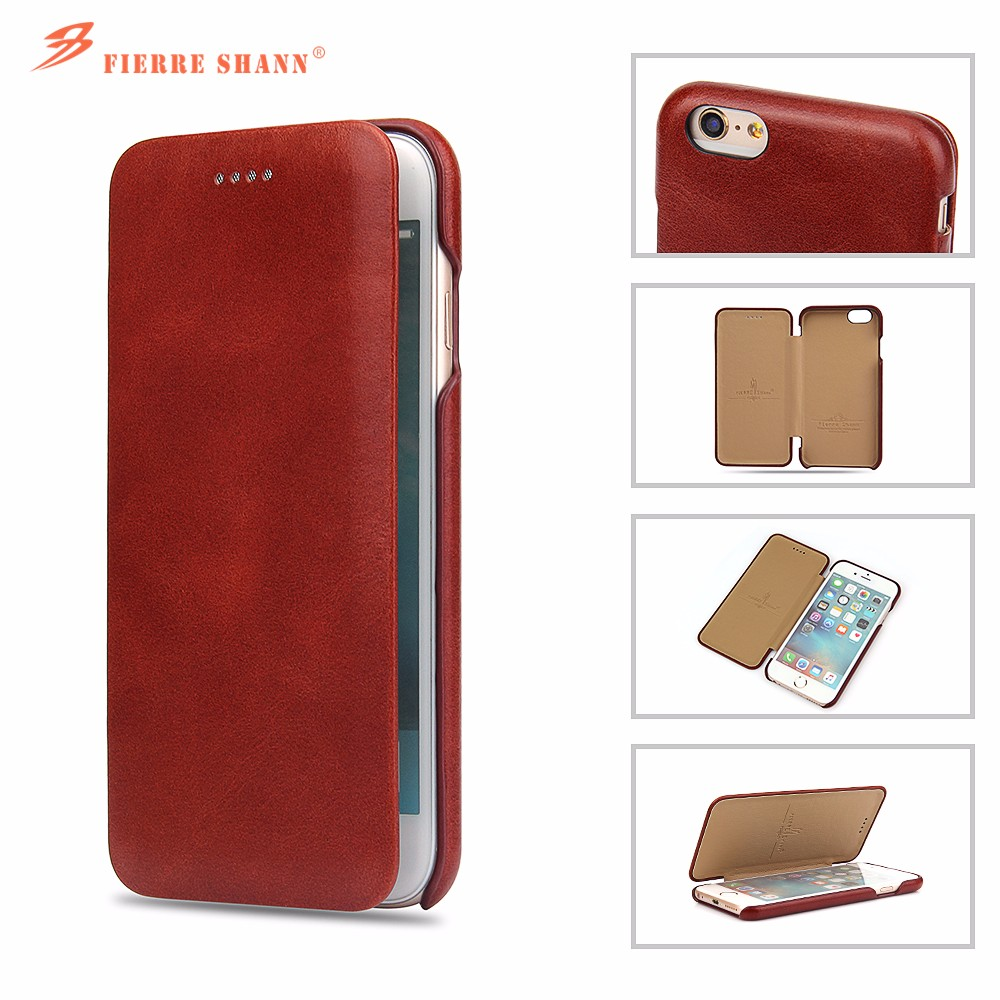 c89a488f36 Fierre Shann Genuine Leather Flip Case Cover for Apple iPhone 6 ...