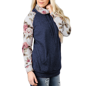Winter Casual Fashion Navy Blue Long Sleeve High Neck Patchwork Woman Blouse