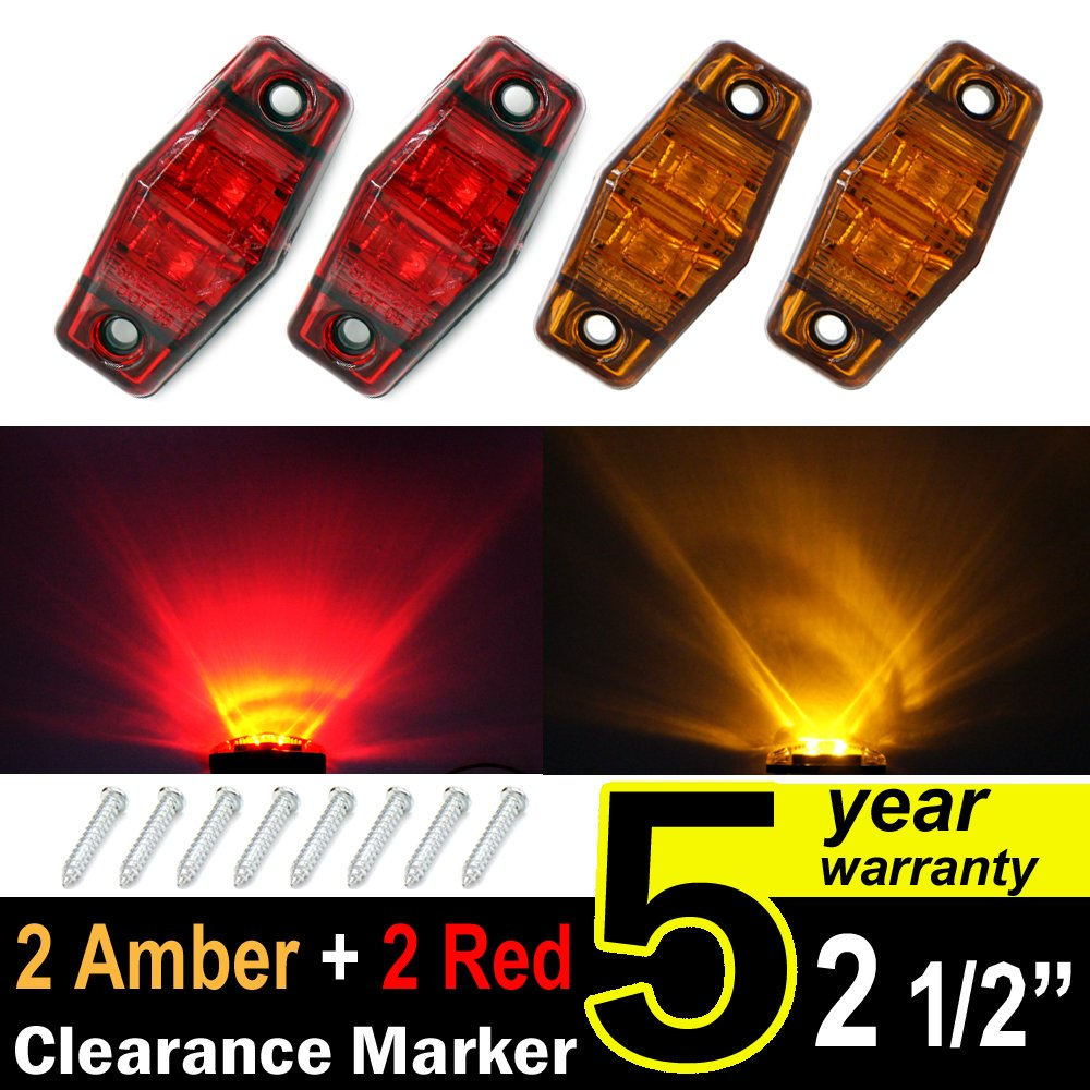 "4 pcs TMH 2.5"" 2 Amber Lens + 2 Red Lens Super Flux Side Led Marker, Trailer marker lights, Led marker lights for trucks, RV Cab Marker light Red, Rear side marker light, Surface Mount LED"