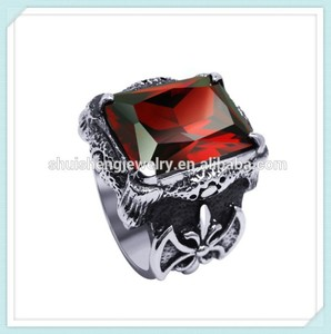 High grade stianless steel men fashion design red coral stone rings