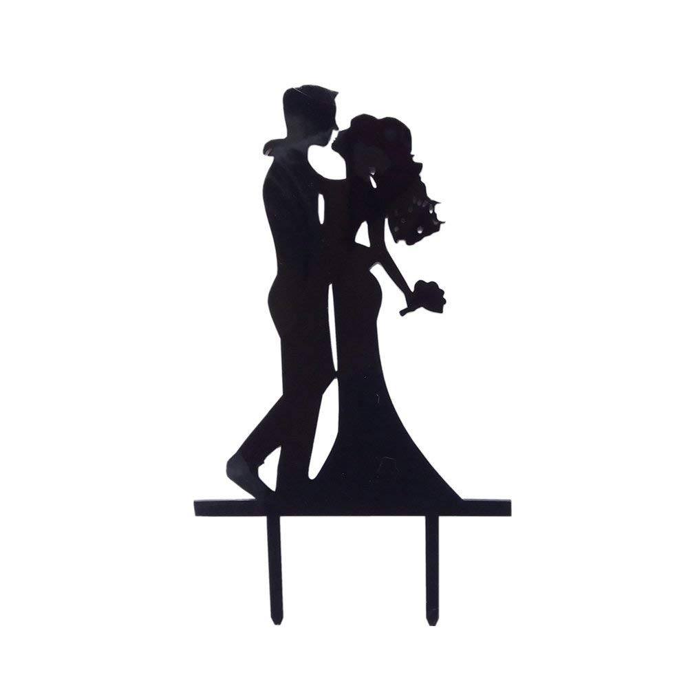Classical Black Wedding Cake Topper Acrylic Wedding Party Cake Topper Groom and Bride Kiss Beautiful Kissing Sweet Cake Topper