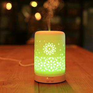 Ceramic housing electric color changing LED light ultrasonic gragrance oil diffuser with timer settings