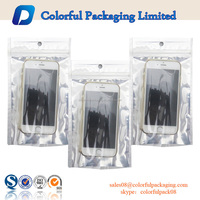 Plastic lamoinated USB cable packaging bag for mobile phone iphone case mobile case packaging with OPP MOPP material