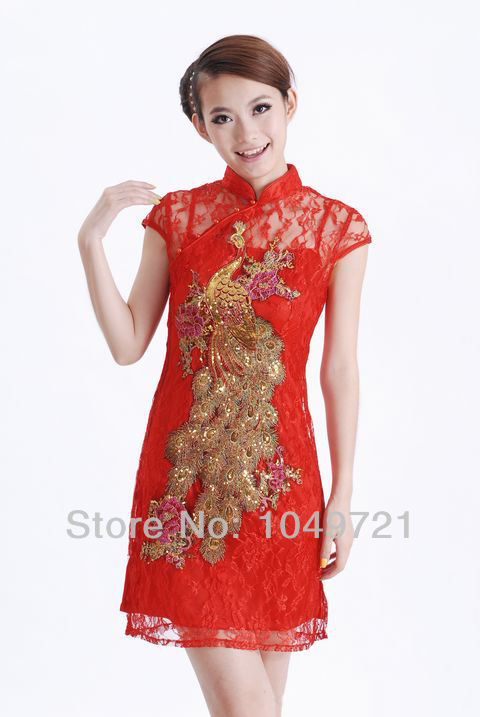 b155ee56e Get Quotations · free shipping sexy Chinese style lace mini Women's Dress  Cheongsam/Phoenix evening dress qipao sz