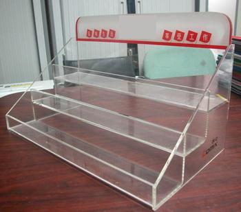 Customised wholesale three pockets clear acrylic magazine holder
