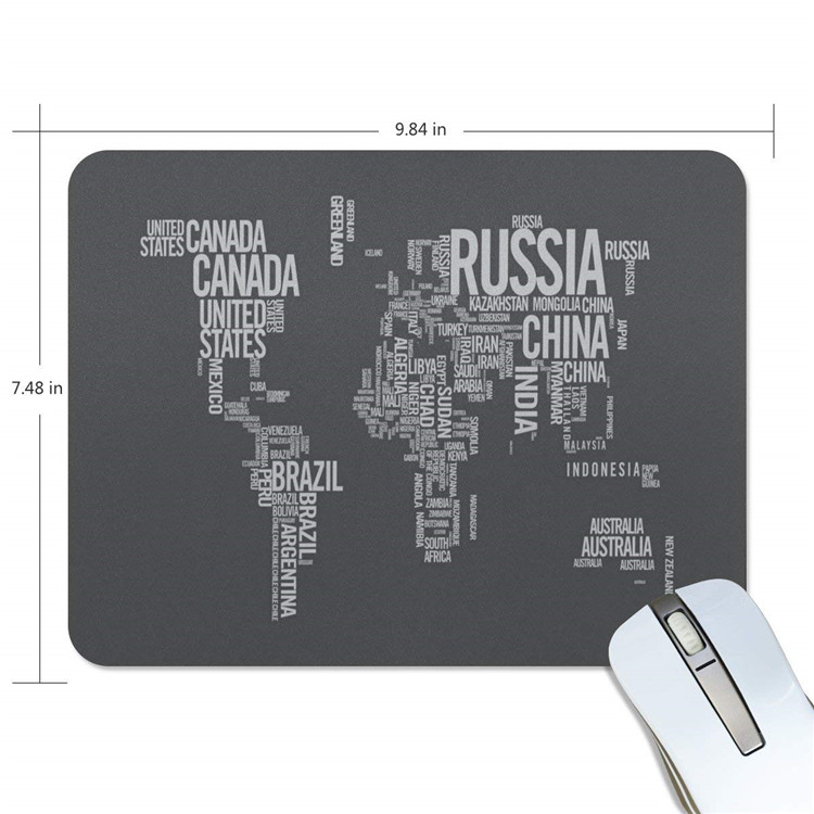 Creative Thickening Rubber World Map Mouse Pad Custom