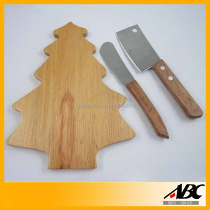 2pcs Cheese Knife With Christmas Tree Shape Cheese Board