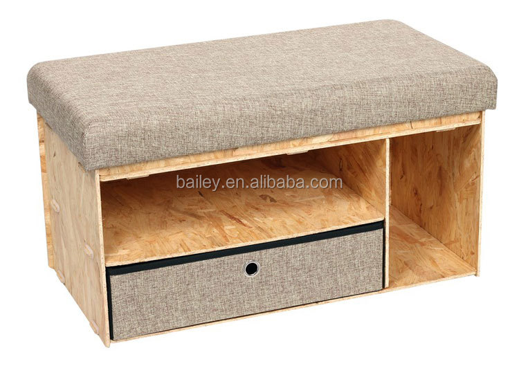 Indoor Wooden Storage Ottoman Bench Seat With Drawer Product On Alibaba