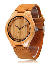alibaba hot sale custom bamboo wooden watches with genuine leather strap band