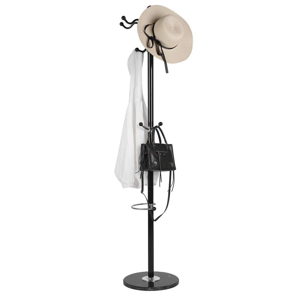 "KATH 70"" Metal Coat Rack, 11 Hooks Hat Rack for Clothes Hats and Bags, Coat Rack with Umbrella Stand Black"