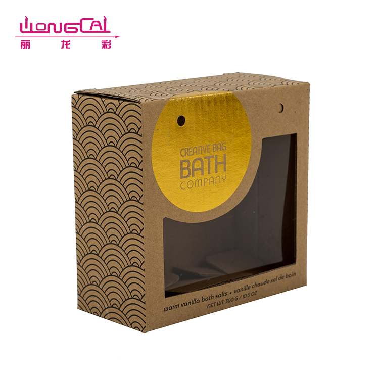 Square shape OEM size hard craft paper box with PVC window
