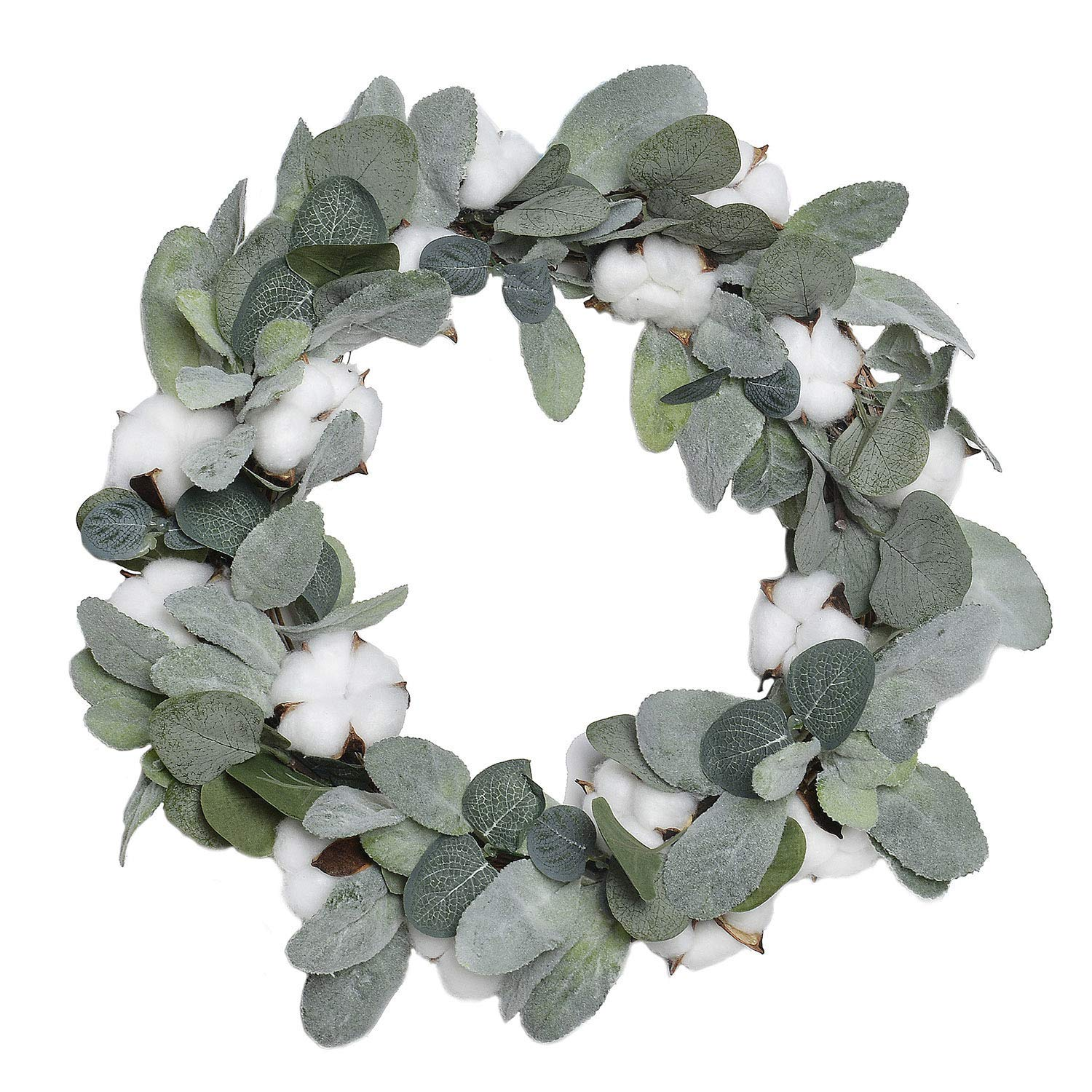 Favowreath 2018 Vitality Series Favo W48 Handmade 15 Inch Green Leaf Cotton Grapevine Wreath For Summer Fall Festival Celebration Front Door Wall Fireplace Laurel Eucalyptus Hanger Home Relaxed Decor Wreaths Home Kitchen