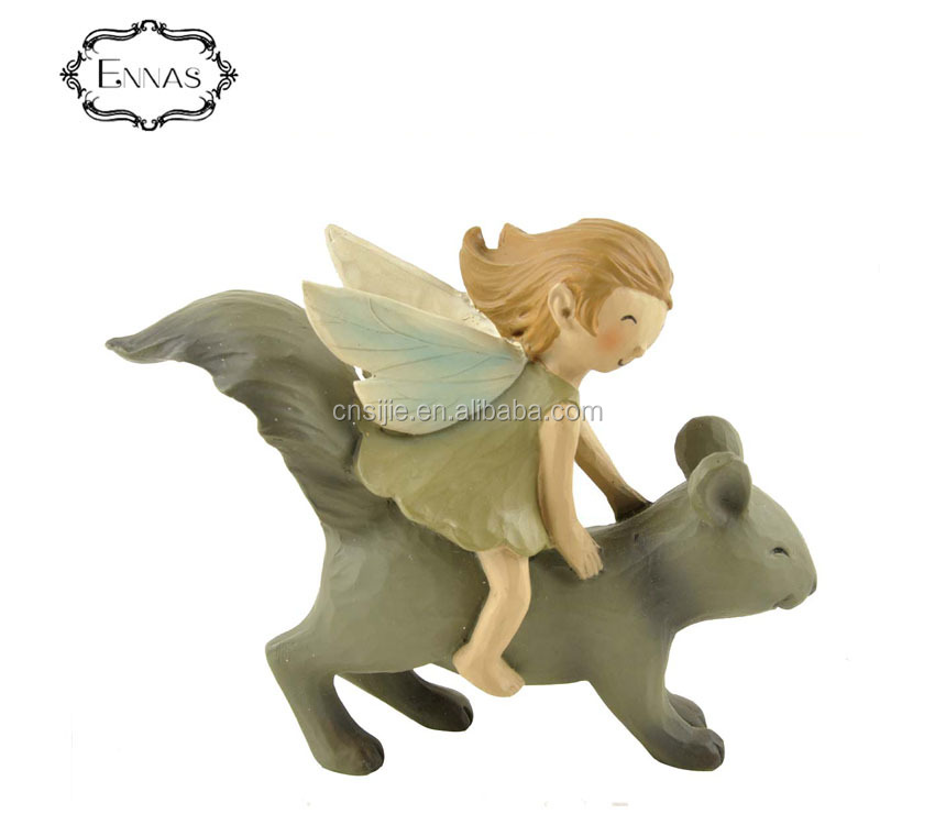 Souvenir use fairy riding squirrel crafts resin fairy gifts cute decorations for kids