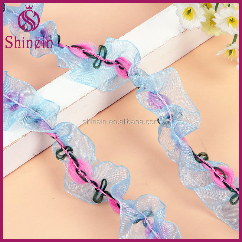 Fancy 2.5cm wide blue Chiffon Ruffle Lace Trim folding organza lace trim with flower decorative for Girl Dress Accessory